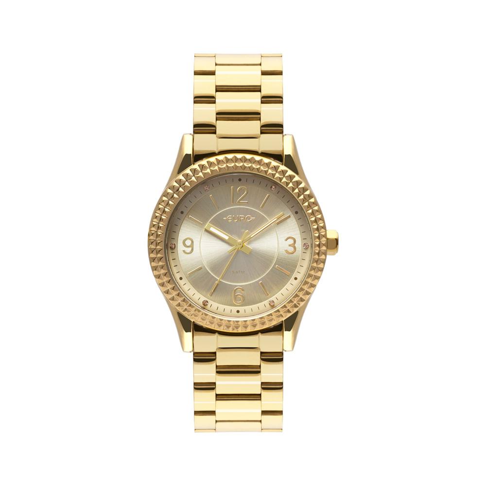 d7967e0704c Relógio Euro Feminino Aro Spikes Dourado EU2035YQZ 4D - timecenter