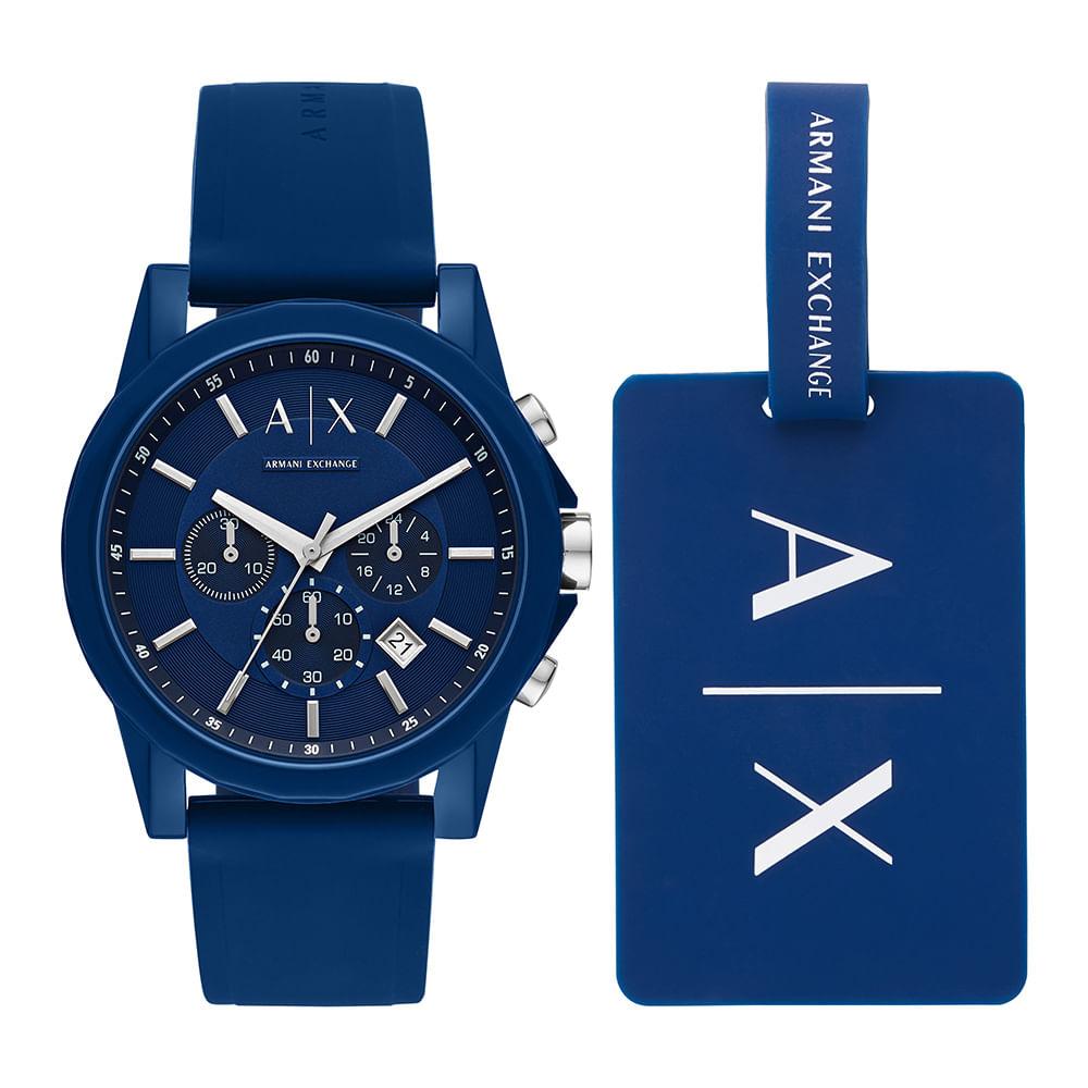 f8bd8eb6282 Relógio Armani Exchange Masculino Outerbanks Azul AX7107 8AN ...