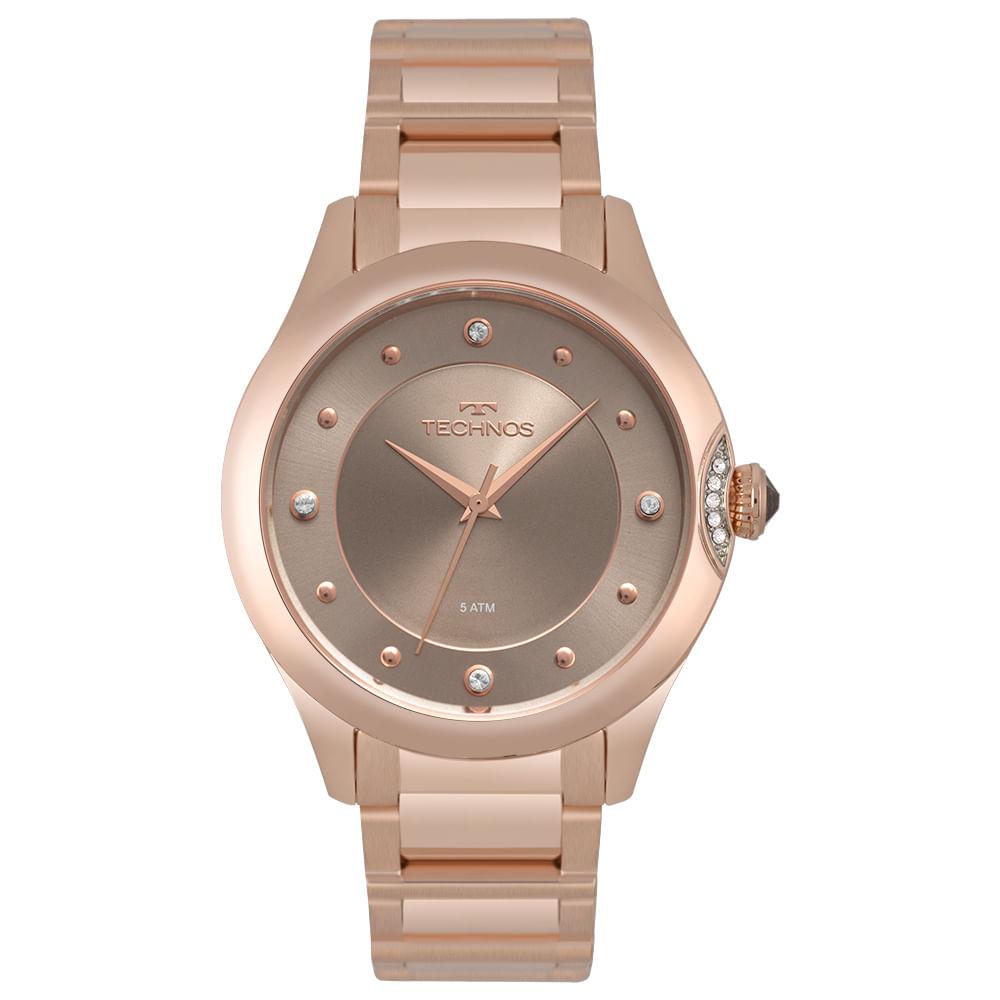 Relógio Technos Feminino Crystal Rosé 2035MQA 5C - timecenter fac9f8b3aa