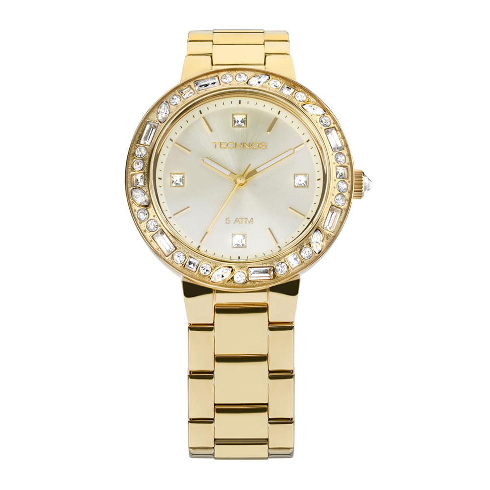 Relógio Technos Feminino Crystal Dourado - 2039AW S4X - timecenter 6ddef90445